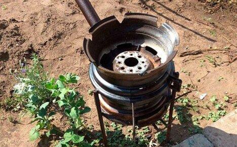 Мангал для барбекю из автомобильного диска