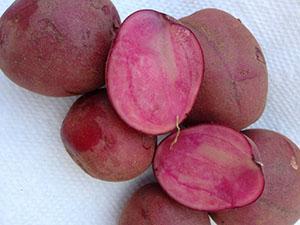 Цветной картофель с розовой мякотью