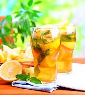 Полезный холодный чай с лимоном и мятой