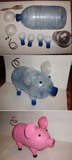 Поросенок из пластиковой бутылки видео
