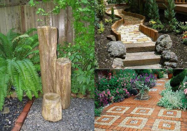 Камни бетонные в саду