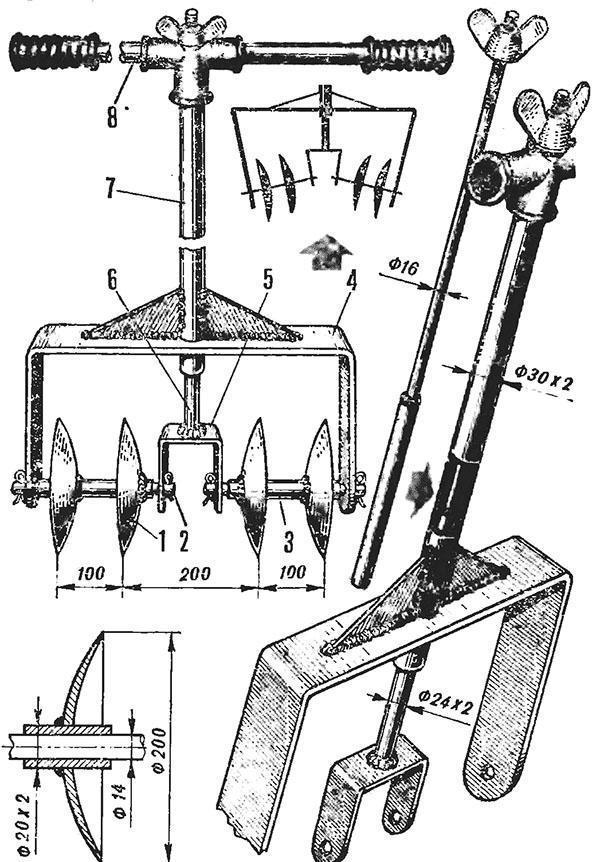 Чертеж ручного ротационного культиватора