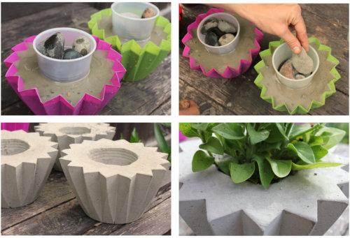 Изготовление миниатюрных бетонных вазонов
