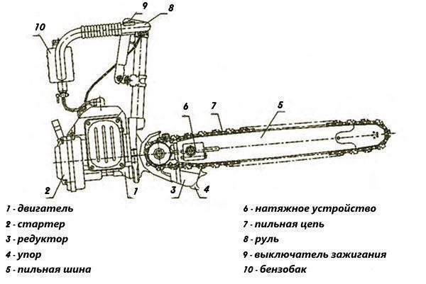 Основные узлы бензопилы