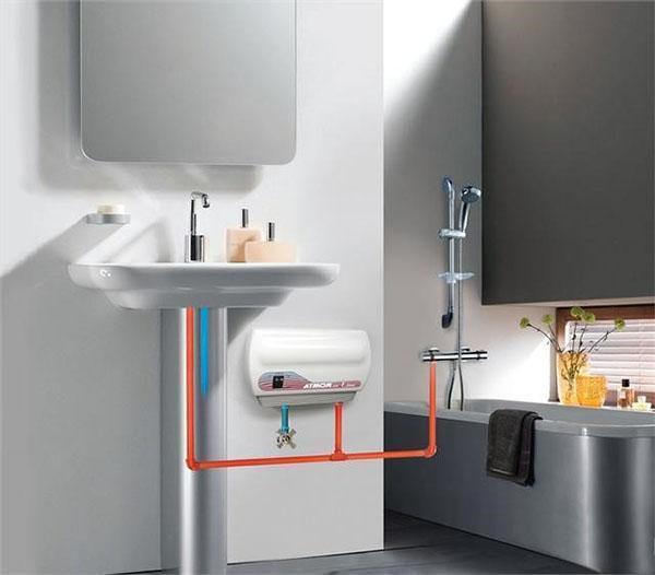 Установка водонагревателя проточного в ванной комнате