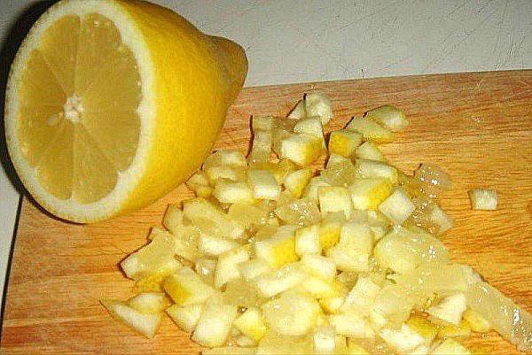 мелко порезать лимон