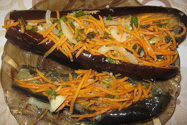 квашеные фаршированные морковью баклажаны