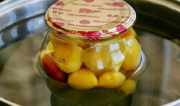 залить фрукты сиропом и стерилизовать