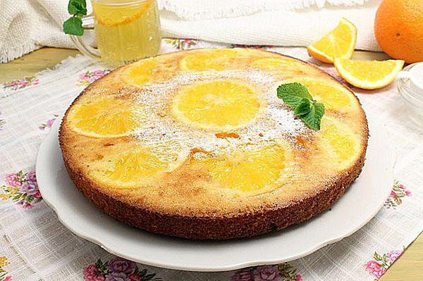 заливной пирог с апельсинами