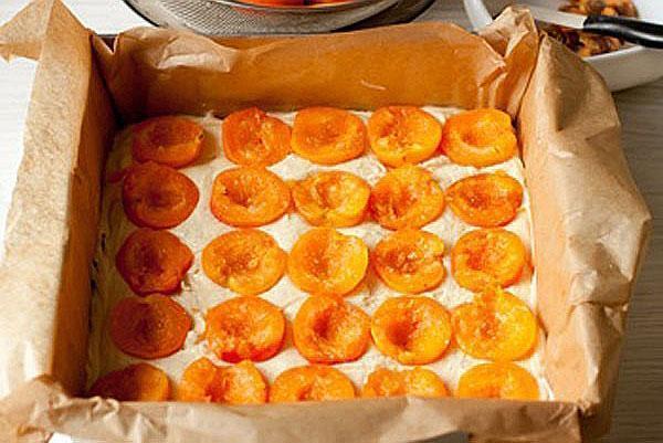 выложить в форму жидкое тесто и размороженные абрикосы