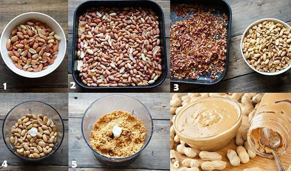 этапы приготовления арахисовой пасты