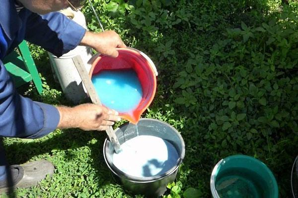 приготовление известкового раствора с медным купоросом