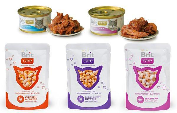 упаковки влажного корма Брит для кошек