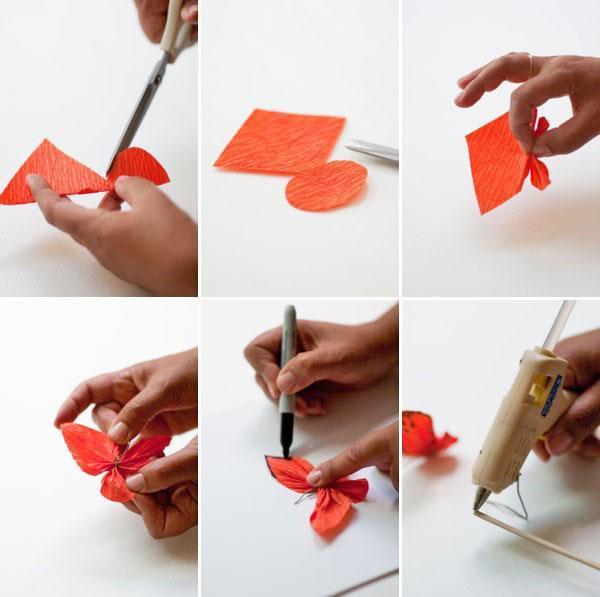 пошаговое изготовление бабочки из креповой бумаги