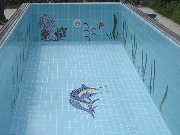 отделка бассейна керамической плиткой