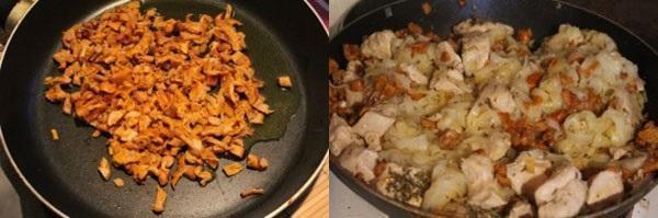 обжариваем лисички и добавляем куриное филе