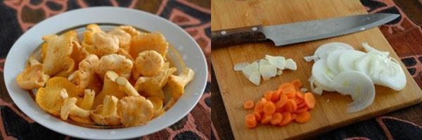 моем грибы и нарезаем овощи