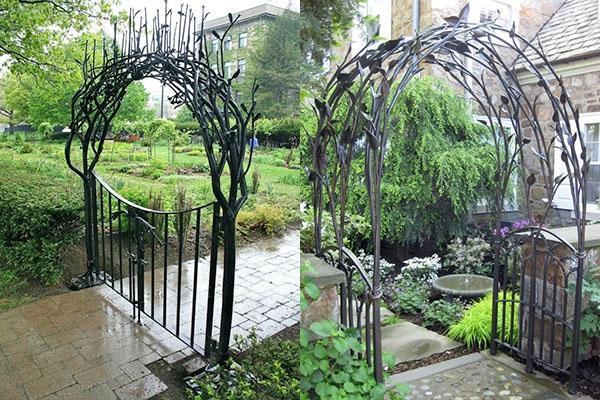 необычный дизайн садовой арки