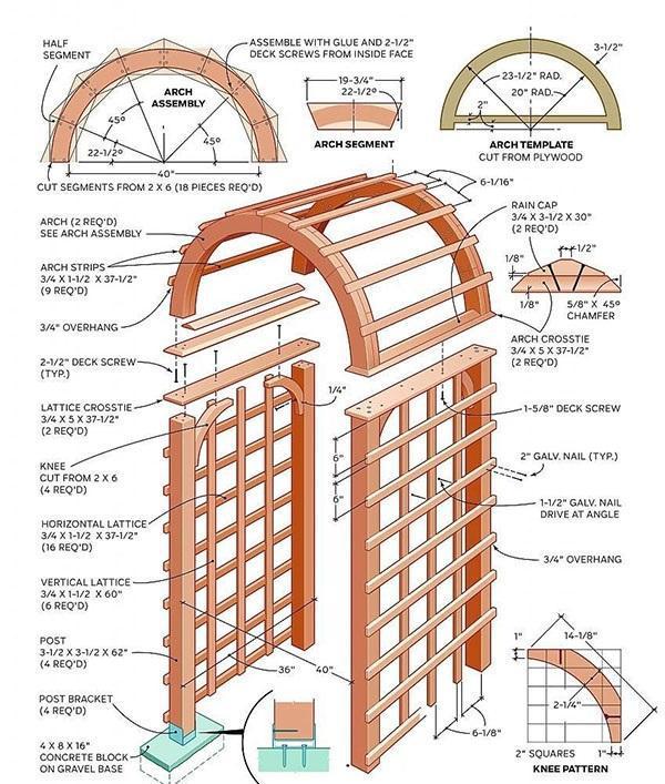чертеж арки из дерева