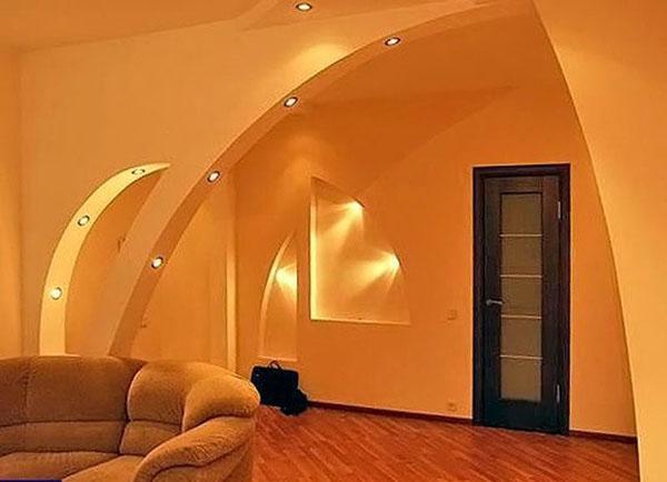 арка с вмонтированными светильниками