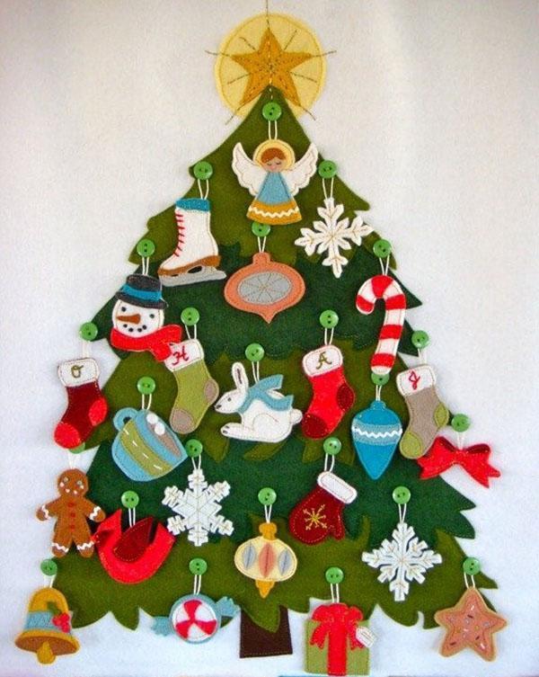 елка и игрушки из фетра
