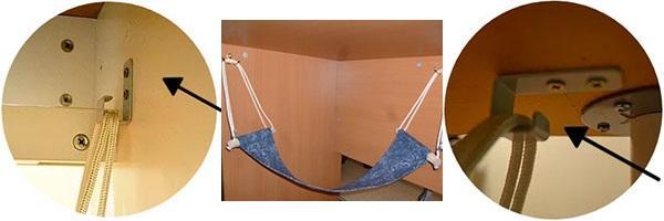 способы крепления гамака под столом