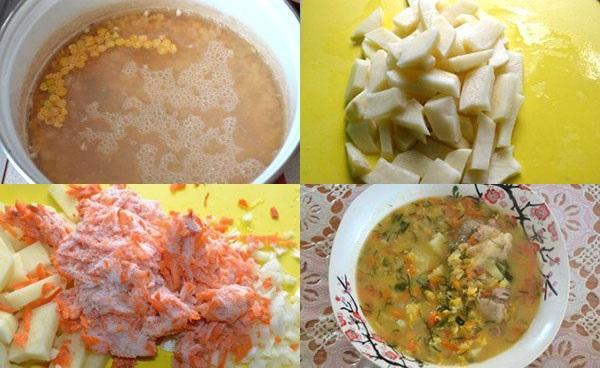этапы приготовления горохового супа