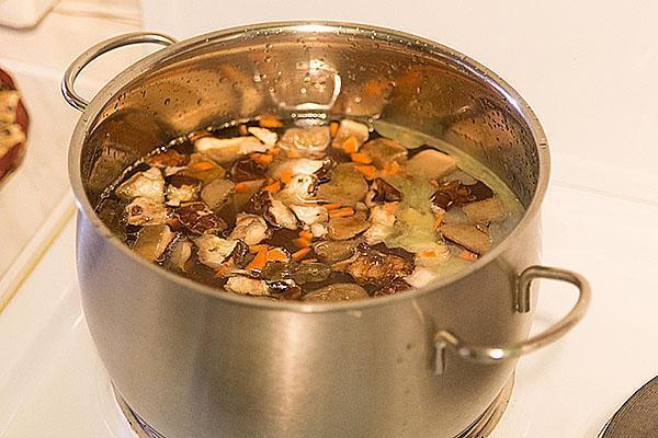 варим грибы в курином бульоне