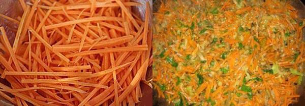 нарезаем морковь и тушим овощи