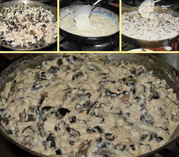 приготовление соуса и грибов