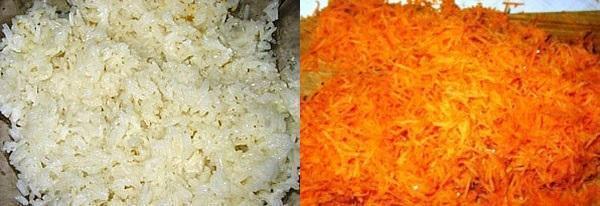 подготовить рис и морковь