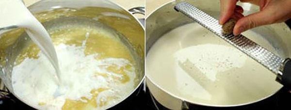 влить молоко и натереть мускатный орех