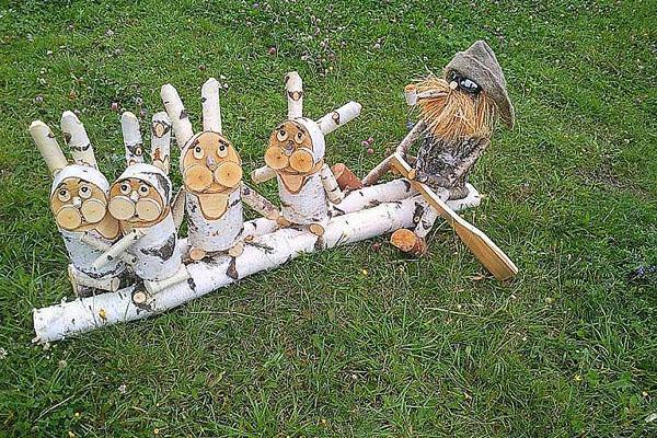 дед мазай и зайцы из дерева