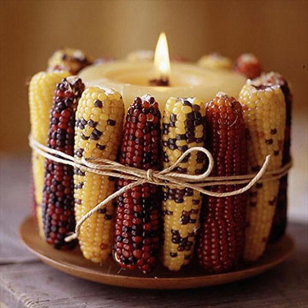 подсвечник из кукурузы