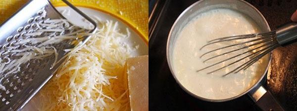 натереть сыр и приготовить соус