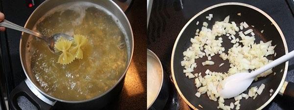 отварить макароны и поджарить лук