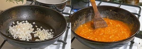 обжарить лук и добавить помидоры