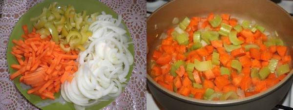 измельчить овощи и тушить