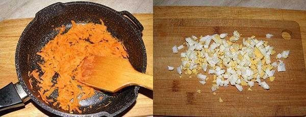 обжарить морковь и нарезать яйца