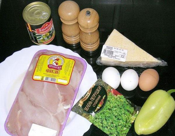 ингредиенты для куриного рулета с сыром