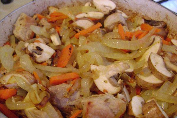 тушеная капуста с курицей и грибами