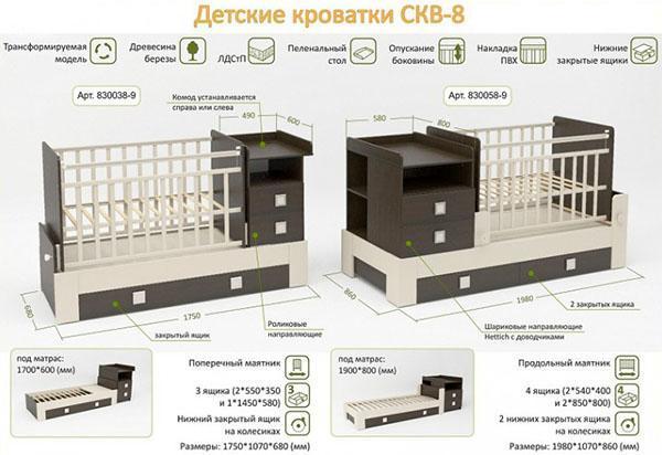 кровать с пеленальным столиком и ящиками