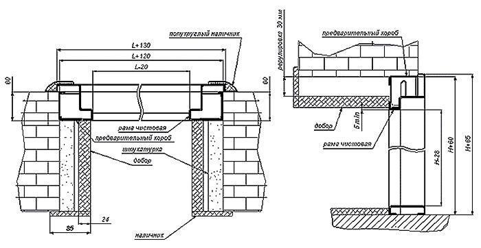 схема монтажа дверей