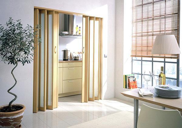 двери гармошка со стеклянными вставками